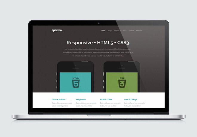 Sparrow free modern responsive html5 template freebiesjedi for Html5 video player template