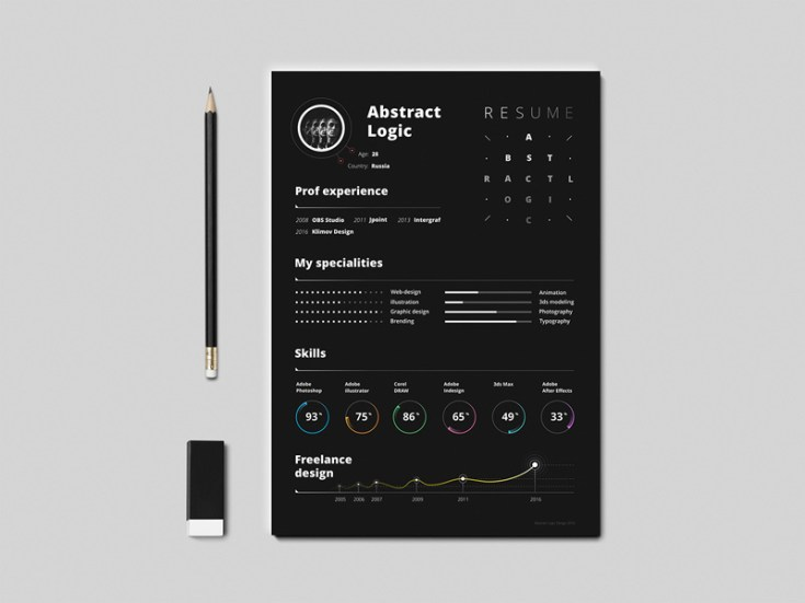 abstract free resume template  ai