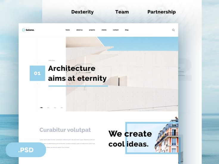 Selene Free Clean Architecture Psd Template Free