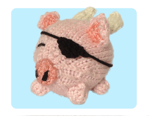 Pirate pig Oink! cute free knitting patterns