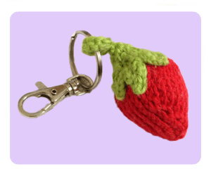 free Strawberry Keychain keyring knitting patterns