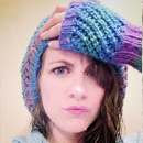 Prism Slouchy Hat with Matching Fingerless Gloves