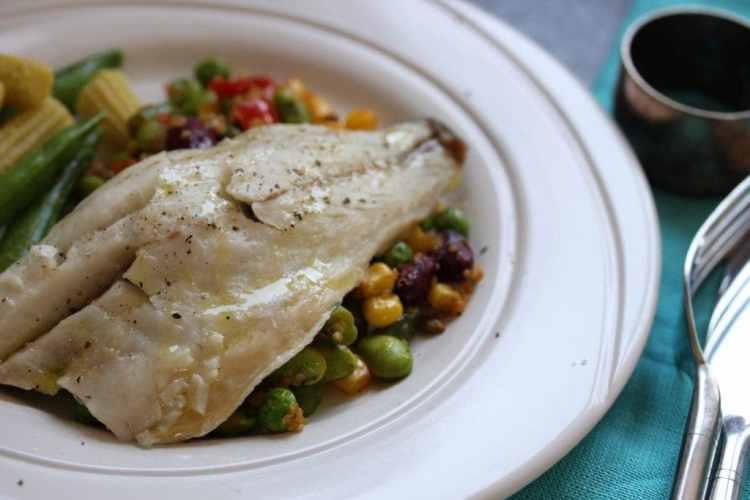 Zesty Bean Quinoa & Poached Sea Bass – A Five Minute Meal
