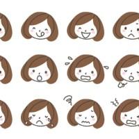 女性(薬剤師)の表情アイコンイラスト12種