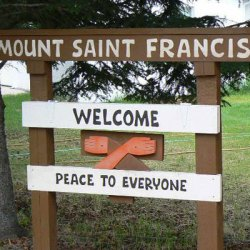 welcome sign for mount saint francis retreat center