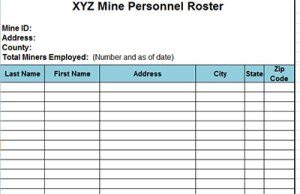 personnel register roster