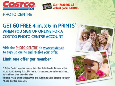 Costco 60 Free 4x6 Photos for New Account Holders - Canada
