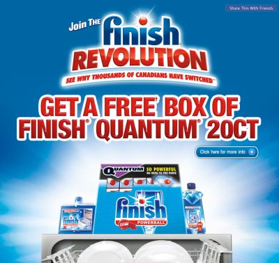 Free Box of Finish Quantum 20 Count with Mail in Rebate via Facebook - Exp. May 4, 2012, Canada