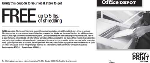 Office Depot Printable Coupon for Free up to 5 lbs. of Document Shredding - Exp. April 29, 2014