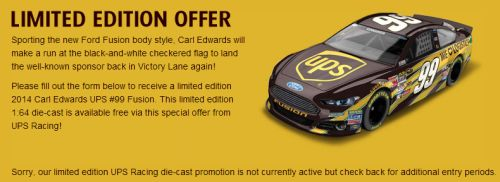NASCAR UPS Free Carl Edwards Limited Edition #99 Fusion Nascar Racing Car - US