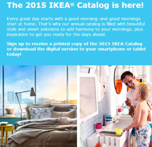 IKEA Free 2015 Catalog and Possible Coupon for a Free Entrée at IKEA Restaurant - Exp. August 12, 2014, Canada, Mexico and US