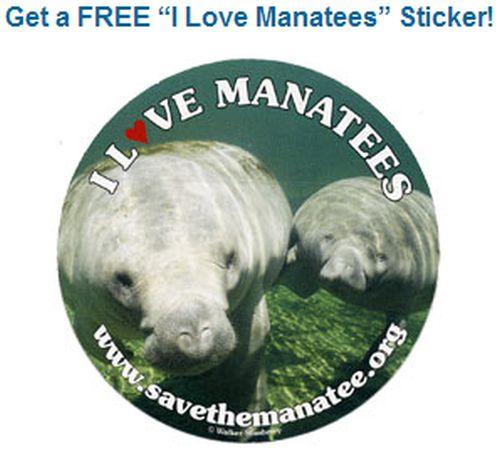 Save the Manatee Club Free Sticker