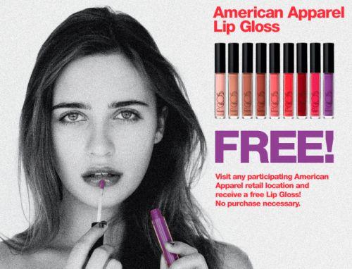 American Apparel Free Lip Gloss Redeem in Store