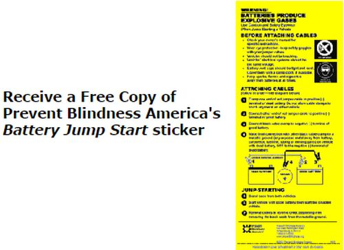 Prevent Blindness Free Free Battery Jump Start Safety Sticker - US