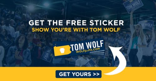 Tom Wolf for Governor PA Free Bumper Sticker - Canada and US<br data-recalc-dims=