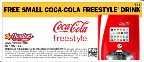 Hardee's Printable Coupon for Free Small Coca-cola Freestyle Drink - Exp. December 15, 2014