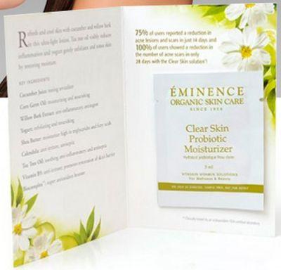 Skin Care Advisor Free Eminence Clear Skin Probiotic Moisturizer Sample via Facebook - Canada and US