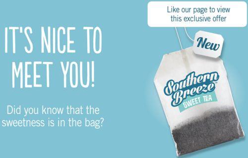 Southern Breeze Sweet Tea Free Sample via Facebook