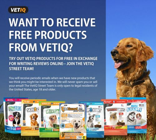 VetIQ Products Street Team Free Pet Product in Exchange for Review via Facebook