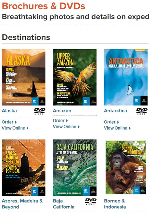 Lindblad Expeditions National Geographic Free Travel Brochure and DVD