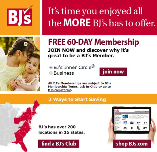 BJ's Free 60 Day Membership to Bj's Wholesale Store - US