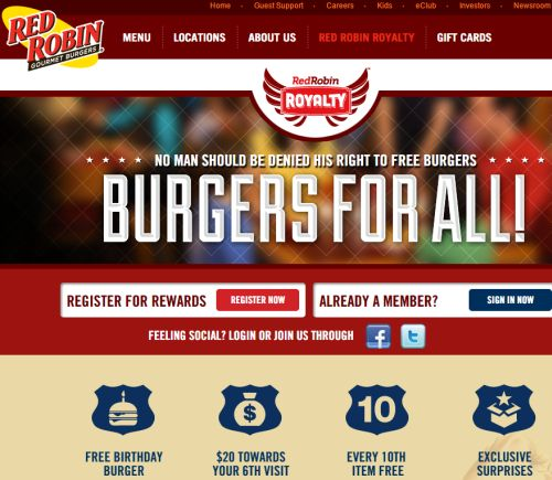 Red Robin Royalty Rewards Program for Free Birthday Burger and More
