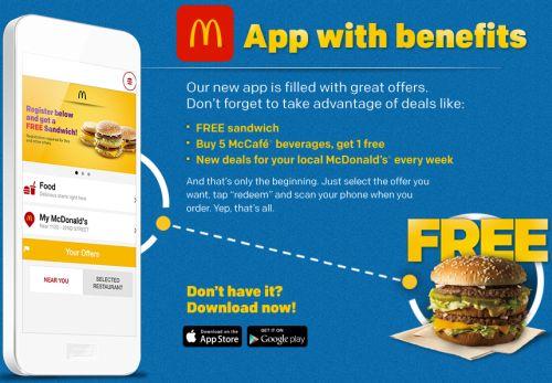 mcdonalds free sandwich app
