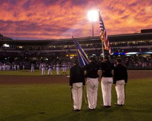 Navy color guard before a Dayton Dragons baseball game