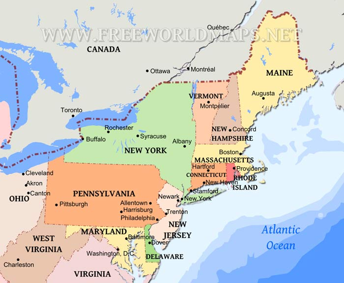 Map Of Us States Northeast - Northeast region of us map