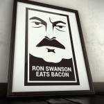 Ron Swanson eats bacon