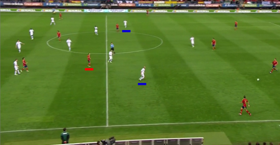 Iniesta (next to referee) as an inside-forward