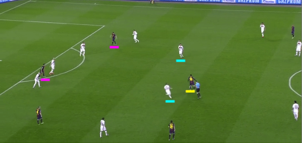 Messi turns and runs with the ball