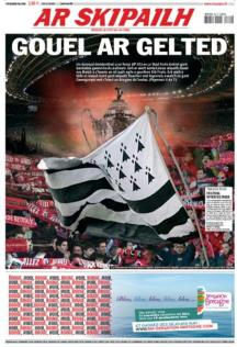 A Breton-language front page to sports newspaper L'Equipe on the day of the final
