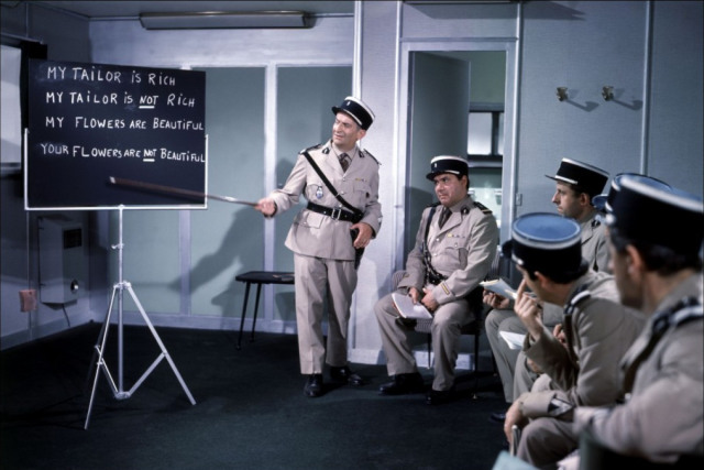French gendarmes learning useful English expressions in a popular French movie