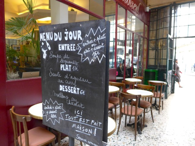 Passage Choiseul. Prix fixe options