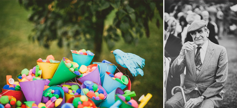 colorful wedding birds details 16 Pop Colors, Balloons, Crepe Paper Flowers and Pom Poms for the Ceremony Exit