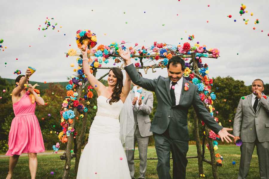 colorful wedding birds details 21 Pop Colors, Balloons, Crepe Paper Flowers and Pom Poms for the Ceremony Exit