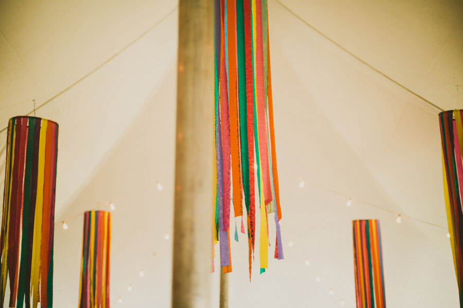 colorful wedding birds details 22 Pop Colors, Balloons, Crepe Paper Flowers and Pom Poms for the Ceremony Exit