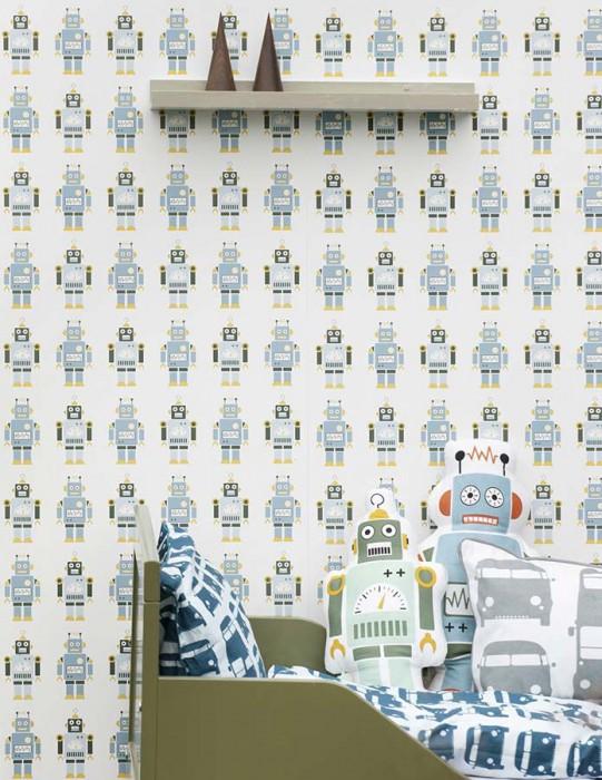 Du papier peint pour une chambre d 39 enfant frenchy fancy for Decoration chambre robot