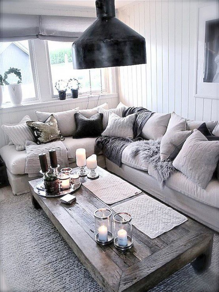 Un coin salon cosy avec laredoute frenchy fancy - Grey and black living room pictures ...