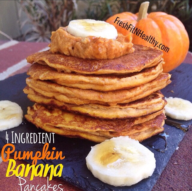 Paleo Healthy Pumpkin Banana Pancakes (Paleo Option)