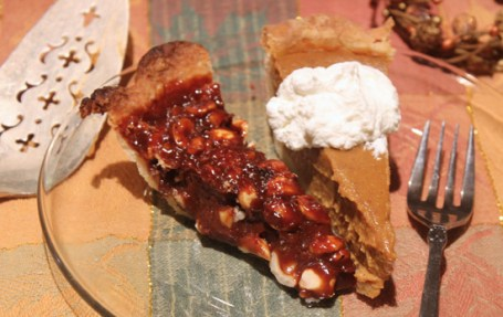 A small slice of Chocolate Caramel Hazelnut Pie served with a slice of Pumpkin Kahlua graced our Thanksgiving table.
