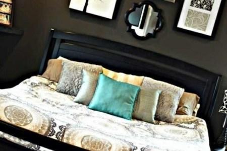 interior design schlafzimmer farbideen dunkle farben wandart