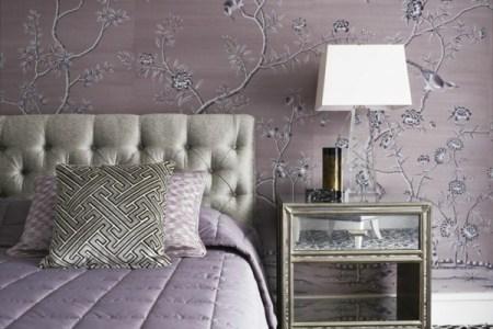 schlafzimmer farbideen zartes rosa wandtapete blumenmuster