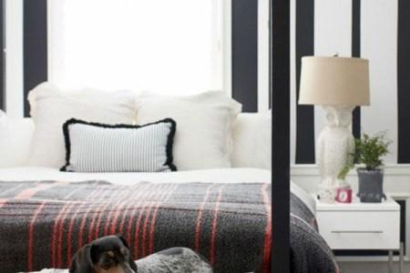 farbgestaltung schlafzimmer farbideen schwarz wei streifenmuster