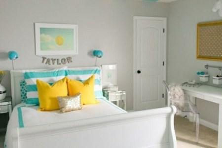 wohnideen farbideen schlafzimmer gestreifte decke t%c3%bcrkis wei%c3%9f
