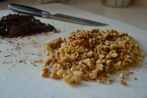 Prepping for fudge with walnuts