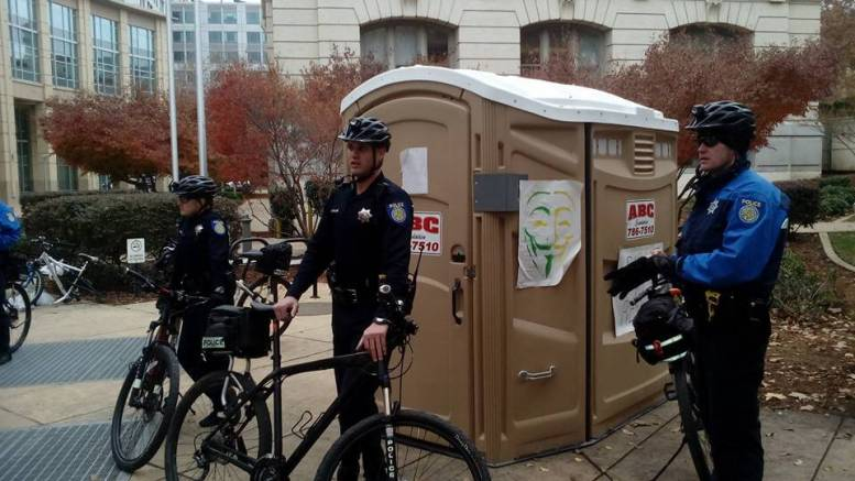 Sacramento police arrest porta-potty
