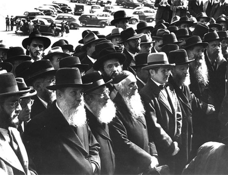 400 mostly Orthodox rabbis march to the White House on October 6, 1943. Roosevelt avoided meeting with them.
