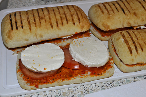 Pannini with mozzarella & pesto